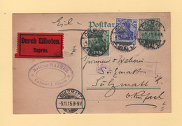 Colmar - Carte En Expres Pour Soultzmatt - 4-11-1915 - Type Germania - Occupation De L'Alsace - 1877-1920: Semi-Moderne