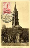 Cathédrâle De Toulouse Cachet Illustré Journée Du Timbre 1947 Toulouse Carte Combier Cim Religion Monument - 1940-49