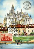 Cathédrâle De Périgueux Cachet Ordinaire Périgueux 23 Août 1947 Carte BD Religion Monument - 1940-49