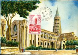 Cathédrâle De Toulouse Cachet Ordinaire Toulouse Bourse 23 Août 1944 Carte BD Religion Monument - 1940-49