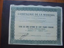 MAROC - CASABLANCA 1948 - COMPAGNIE DE LA MAMORA - TITRE DE 5 ACTIONS DE 100 FRS - Hist. Wertpapiere - Nonvaleurs