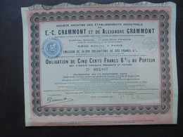 FRANCE - PARIS 1919 - ETS. E.C. GRAMMONT ET DE ALEXANDRE GRAMMONT - OBLIGATION DE 500 FRS 6% - Hist. Wertpapiere - Nonvaleurs