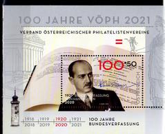 2020 Austria 100 Years Of Austrian Philately Society III 100 Years Of Austria Constitution MS MNH**  Mi B 118 - 2011-... Ungebraucht