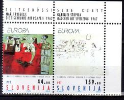 1993 Slovenia Europa CEPT Modern Art Top Right Corner MNH** MiNr. 48 - 49 Top - Slovenia