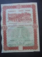 "MEXIQUE - MEXICO 1909 - CIE DE LA MINAS DE OROY PLATA "" LA PRECIOSA"" - TITRE 5 ACTIONS DE 2 PESOS - SANS TIMBRE FISCAL - Hist. Wertpapiere - Nonvaleurs"