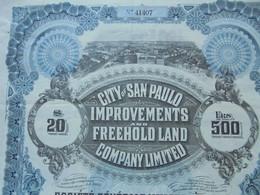 ANGLETERRE - LONDRES 1912 - CITY OF SAN PAULO : IMMOBILIERE ET EMBELLISSEMENTS - TITRE DE 1 OBLIGATION DE 20 £ - Hist. Wertpapiere - Nonvaleurs