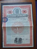 MEXIQUE - HALAPA 1907 - H. CUIDAD DE VERACRUZ - BOND DE 100 PESOS - PEU COURANT - Hist. Wertpapiere - Nonvaleurs