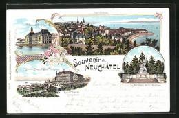 Lithographie Neuchatel, Hotel Des Alpes Et Hotel Terminus, Hotel Des Postes - NE Neuchâtel