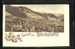 Lithographie Zweisimmen, Totalansicht Der Ortschaft - BE Bern