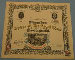 Nova Scotia - Member Order Of The Good Time, Fellowship And Good Cheer, First Grand Master Samuel De Champlain - Vereinswesen