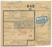 Belgium 1953 Parcel Post Card Florenville To Bruxelles, Scott Q322 Locomotive - Railway