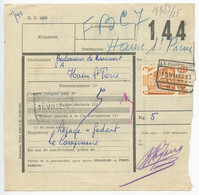 Belgium 1952 Parcel Post Card Le Campinaire To Haine-Saint-Pierre, Scott Q335 Mail Car - Railway