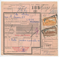Belgium 1952 Parcel Post Card Mortsel To Liege, Scott Q319 & Q321 Locomotives - Railway