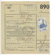 Belgium 1956 Parcel Post Card Bredene To Bornem, Scott Q363 Electric Train - Railway