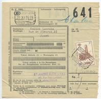 Belgium 1956 Parcel Post Card Charleroi, Scott Q365 Electric Train Surcharged Ovpt - Railway
