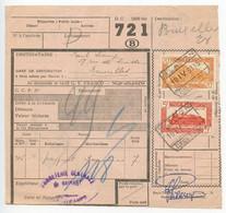 Belgium 1953 Parcel Post Card Blanton / Becettes To Bruxelles, Scott Q315 & Q321 Locomotives - Railway