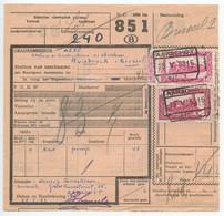 Belgium 1953 Parcel Post Card Aarschot To Bruxelles, Scott Q313 & Q323 Locomotives - Railway