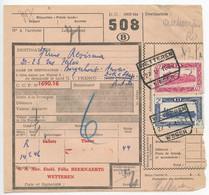 Belgium 1953 Parcel Post Card Wetteren / Weger To Antwerpen, Scott Q312 & Q323 Locomotives - Railway