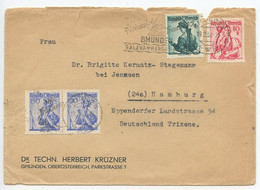 Austria 1952 Cover Gmunden To Hamburg Germany, Women's Costume Stamps - 1945-60 Storia Postale