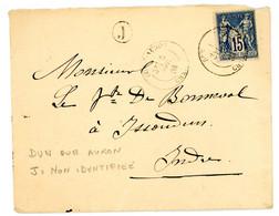 CHER ENV 1884 DUN SUR AURON T18 SUR SAGE + BOITE RURALE J = NON IDENTIFIEE - 1877-1920: Periodo Semi Moderno
