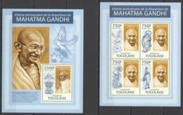 TG732 2013 TOGO TOGOLAISE GREAT HUMANISTS MAHATMA GANDHI KB+BL MNH - Mahatma Gandhi