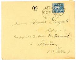 CHER ENV 1890 MEHUN SUR YEVRE T84 SUR SAGE + BOITE RURALE B = NON IDENTIFIEE - 1877-1920: Periodo Semi Moderno