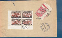 USSR: 1931 COMMERCIAL COVER, FRANKED WITH ZEPPELIN AND BLOCK OF 4.  RARE ! - Briefe U. Dokumente