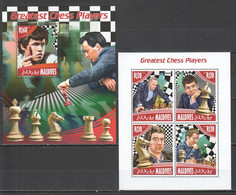 ML681 2014 MALDIVES GAMES GREATEST CHESS PLAYERS 1KB+1BL MNH - Schach