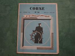 COMPAGNIE GENERALE TRANSATLANTIQUE - Départs CORSE N°14 - Mai-Octobre 1954 (dépliant 5 Volets) - Boten