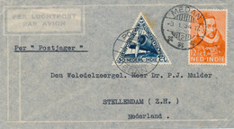 Nederlands Indië - 1934 - LP-cover Van LBnr Medan/2 Met Postjager/Medan Naar Stellendam / Nederland - Indie Olandesi