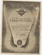 Brevet Militaire Parachutiste, Jean Bertrand , Paris 1946, Décerné Par Le Ministre Des Armées, Photo  7,5 X 10 - Documenti