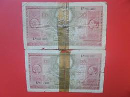 """BELGIQUE 100 Francs 1943 TYPE """"LONDRES"""" 2 NUMEROS SE SUIVANT MAIS MAUVAIS ETAT ! - 100 Franchi-20 Belgas"""