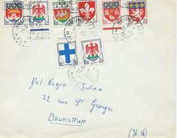 LETTRE 1958 AVEC 8 TIMBRES AUX TYPES BLASONS - 1921-1960: Moderne