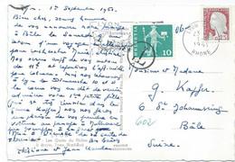 CARTE POSTALE POUR LA SUISSE 1961 AVEC TIMBRE AU TYPE MARIANNE DE DECARIS ET TIMBRE TAXE SUISSE - 1961-....