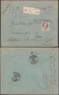 """Belgique 1907-  Lettre Recommandée  De Mons Vers  Mons. """"Retour à L'envoyeur"""" """"REBUT""""COB Nº 77.......(DD) DC-9520 - 1905 Grove Baard"""