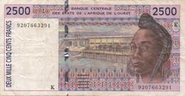 Afrique De L'Ouest : 2500 Francs Lettre K (moyen état) - Autres - Afrique