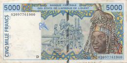 Afrique De L'Ouest : 5000 Francs Lettre D (bon état) - Autres - Afrique