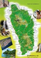 CPM - ANTILLES - DOMINIQUE - CARTE ET MULTIVUES - MAP OF DOMINICA - Dominica