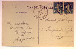 "Rare Cachet Convoyeur ""Chateaubriand A St Nazaire 1919"" Semeuse Indice=6 - Railway Post"