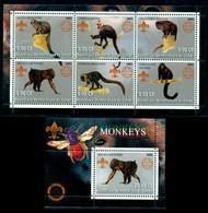 Congo 2002 Wild Animals, Bee, Monkey, Macaque, Capuchin, Saki, Affe, Mono, 2x Ss, MNH - Otros