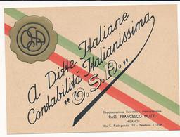 ANNI 40 MILANO OSA CONTABILITA' ITALIANISSIMA CARTONCINO PUBBLICITARIO - Cartes De Visite