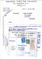 CÔTES D'OR, VOUGEOT, GRANDS VINS DE RUMIGNY, Lettre + Enveloppe, Vve BENTIN ABEELE, WATOU & POPERINGE, 1918 - Factures