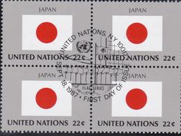 NATIONS UNIES, JAPAN, Drapeau, Bloc De 4, 1er Jour, 18 Sept 1987 - Altri