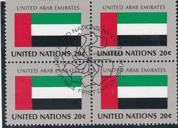 NATIONS UNIES, UNITED ARAB EMIRATES, Drapeau, Bloc De 4, 1er Jour, 21 Sept 1984 - Altri