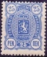 FINLAND 1889-1900 25 Pen Blauw Wapentype Drie Cijfers Tanding 14x12 PF-MNH - Nuovi