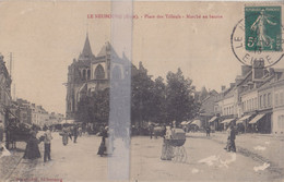 CPA LE NEUBOURG PLACE DES TILLEULS MARCHE AU BEURRE - Le Neubourg