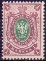 FINLAND 1901-03 1mk Lilagroen Boekdruk Berlijn Tanding 14½x14 PF-MNH - Nuovi