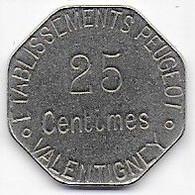 VALENTIGNEY - Etablissements Peugeot - 25 C - Monetari / Di Necessità