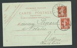 Sur Entier Yvert 138 CP1 Date 924 , Obli Daguin Jumelé METZ / MOSELLE 5/11/29   Lm20905 - 1877-1920: Semi Modern Period