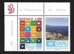 Monaco 2020 - Yv N° 3254 & 3255 ** - 75e Anniversaire De L'Organisation Des Nations Unies - Ungebraucht